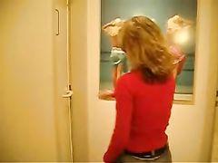 German Pussy Girlfriend Fucking in Public Toilet Room