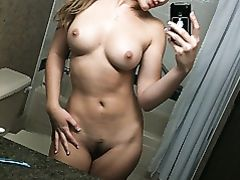 Naughty Girl Selfshot Nude in Bathroom Tits and Hairy Pussy