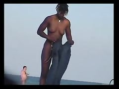 Nude Woman Filmed at the Beach