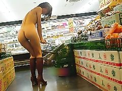 Sexy Woman Flashing Naked in the Supermarket