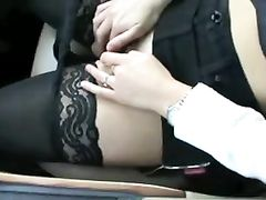 Hot wife undressing and masturbating in car