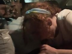 Black dude banging a chubby white girl in the car in the night
